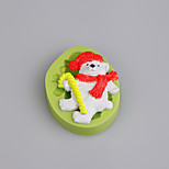 Christmas Cake Decorating Teddy Bear Walking Stick Silicone Fondant Mold for Candy Chocolate Soap Clay Fimo Resin