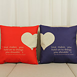 Set of 2 Text/Loving Heart Pattern Linen Pillowcase  Home Decor pillow Cover (18*18inch)