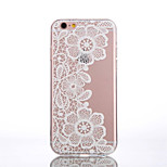 TPU Peach Blossom Pattern White Transparent Patter Back Case for iPhone 6s 6 Plus