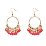 Simple National Wind Hollow Fringed Bohemian Circle Earrings