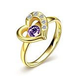 Fashion Delicate Unisex's Heart-Shaped Purple Zircon Gold-Plated Titanium Steel Couple Rings(Golden,Black)(1Pc)