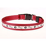 Dog Collar LED Lights / Adjustable/Retractable / Rechargeable Red / Green Nylon