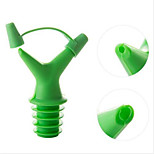 Silicone Vacuum Seal Screw Wine Bottle Stopper Dual-port Pourer Device Durable Random Color