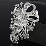 High-quality Exquisite Fashion Silver Flower Rhinestone Brooch