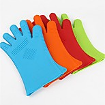Queen Queen Silicone Glove Finger Thick Dot Denim Insulation Against Hot Microwave Oven Gloves 5Pcs