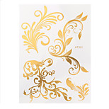 1pc Water Transfer Gold Flash Metallic Fake Flower Lace Hair Tattoo Women Body Art Temporary Tattoo HT301
