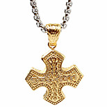 Thai Man Personality Cross Pendant Necklace, Gold Restoring Ancient Ways (Excluding Chain)