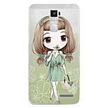 Cartoon Painting  TPU Soft for OPPO R7s Plus(lucky grass girl)