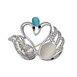 Fashion Alloy Opal Lovely Swan Shape Brooches for Women