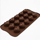 15 Holes Chocolate Mold Chocolate Cake Heart-Shaped Ice Grid Silicone Mold D-309 5Pcs
