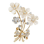 Fashion Women Rhinestone Opal Gold Flower Brooches fow wedding