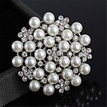 Fashion Alloy Brooch Pin Lovely Rhinestone Pearls Brooches for Women Girls