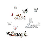 3D Wall Stickers Wall Decals Style English Alphabet Butterfly Mirror Wall Stickers