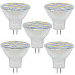 2W GU4(MR11) Luces Decorativas MR11 9 SMD 5730 280LM lm Blanco Cálido / Blanco Fresco Decorativa 09.30 V 5 piezas