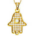 Fashion Hamsa Hand Pendant For Women/Men 18K Gold Plated Crystal Necklaces Pendants Jewelry P30024