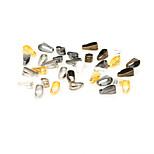 Beadia 100Pcs 3x7mm Bail Pendant Connectors & Pinch Clip &  Clip Clasp(Hole Width 2.5mm)