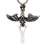Personality Titanium Steel Wings Cross Necklace Pendant(Not Including Chain)
