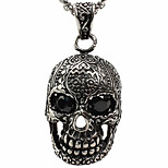 Europe And The United States Character Icons Cool Red Eye Skull Titanium Steel Pendant - Black Eye (Excluding Chain)