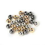 Beadia 200Pcs 6mm Round Acrylic CCB Spacer Loose Beads Gold &Gunmetal&Rhodium Plated (1.6mm Hole)