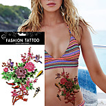 5Pcs Waterproof  Simulation Pink Peony Fish Carp Women Body Art Personality Temporary Tattoo Sticker