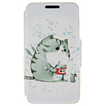 SZKINSTON® A Fat Cat Pattern Full Body PU Cover with Stand for Huawei P9/P9 Plus/P9 Lite/G9 and Huawei Honor 4X/3C