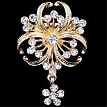Fashion Luxury Gold Plated Flower Rhinestone Brooches for Women Wedding