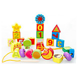 cadena alfanumérica de perlas de madera de juguete