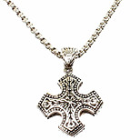 Thai Man Personality Cross Pendant Necklace, Silver Restoring Ancient Ways (Excluding Chain)