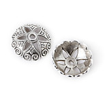 Beadia 5Pcs Antique Silver Alloy Beads 20x7mm Flower Spacer Beads & Beads Cap