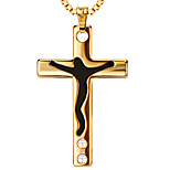 Jesus cross drops of black oil Locket Necklace pendants 18K Gold Plated Fashion Jewelry P30151