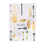 1pc Flash Metallic Waterproof Tattoo Gold Silver Peacock Feather Arrow Key Temporary Tattoo Sticker YH-065