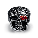 Men's Fashion Cool mayan 925 silver plated High Polished Stainless Steel rings punk Red Cubic Zirconia ring (1pc) R236