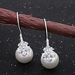 Shell Pearl Zircon  Silver Pierced Drop Earrings 1 pair