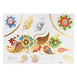 1pc Gold Silver Multicolor Metallic Waterproof Tattoo Flower Lace Bracelet Temporary Tattoo Sticker YH-054