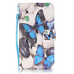 PU Leather Material 3D Painting Blue Butterfly Pattern Phone Case for LG K5/K7/LS775