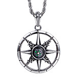 Stainless Steel Trendy Jewelry Men's Compass Shaped Pendant Necklace