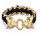 Mens 316 Stainless Steel Gold Plated Wolf Head Charm Leather Bracelets