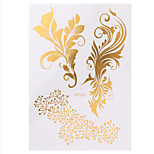 1pc Water Transfer Flash Metallic Flower Lace Women Hair Body Art Temporary Tattoo Sticker Decal HT302