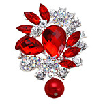 Fashion Alloy Metal Rhinestone Crystal Women Bridal Party Water Drop Brooches For Wedding