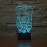 Tooth Shape 3D Illusion LED Table Lamp Night Light