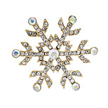 Fashion Rhinestone Gold Plated Snow Shape Brooches For Christmas Party