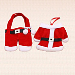 4pcs Chrismtas Tableware Holder Santa Claus Clothing Pants Table Dinner Decoration Party Supplies