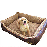 Dog / Cat Beds Blankets Cotton / Leather Waterproof Beige 50*40*20cm