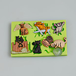 Mini Cat Themed Cake Decoration Silicone Fondant Mold Sugarcraft Tools Polymer Clay Fimo Chocolate Candy Soap Making
