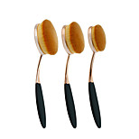Rose Gold 3 pcs ToothBrush Shape Oval Makeup Brush Set MULTIPURPOSE Professional Foundation Powder Brush