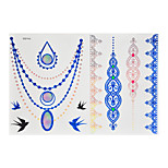 1pc Flash Metallic Waterproof Tattoo Blue Gold Silver Swallow Necklace Lace Temporary Tattoo Sticker BYH-005