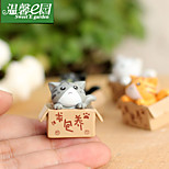 Seeking Nurturing Cat Kitty Dolls Micro Landscape Ornaments Grey Fleshy Ornaments