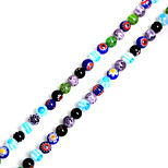 Beadia 38Cm/Str 6mm Round Millefiori Flower Lampwork Glass Beads(1.0mm Hole)