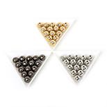 Beadia 50Pcs 10mm Round Acrylic CCB Plastic Spacer Loose Beads Gold &Gunmetal&Rhodium Plated (1.2mm Hole)
