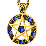 Most Popular 18K Gold Plated Pendant Blue Rhinestone Round Star Necklace Women Men The Middle Ages Style Jewelry P30167
